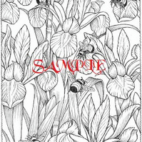 Irises and Bumble Bees Single Colour PDF Cross Stitch Chart