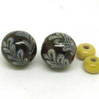 Brown Glass Bead Pair - SRA Lampwork -Autumn Leaves