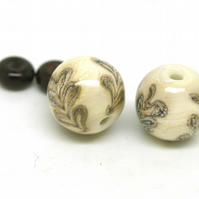 Ivory Glass Bead Pair - SRA Lampwork - Autumn Leaves
