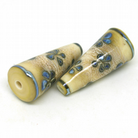 Ivory & Blue Flower Lampwork Cone Beads