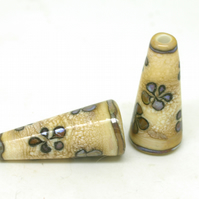 Ivory & Purple Brown  Flower Lampwork Cone Pair