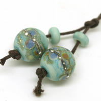Pastel Turquoise Green Frit Beads