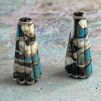 Turquoise, Black and Ivory Pleated Cones.