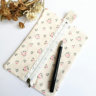 Floral Cream Pencil Case