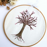 Cherry Blossom Tree Hand Embroidery Hoop Art