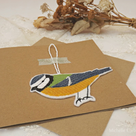 The Blue Tit - Embroidered Hanging Decoration