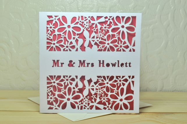 Personalised Laser Cut Flower & Butterfly Wedding Card