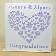 Personalised Laser Cut Custom Congratulations 'Heart' Card