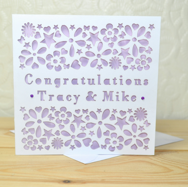 Personalised Laser Cut Heart, Flower and Star Congratulations Engagement Card