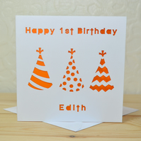 Personalised Laser Cut Party Hat Birthday Card