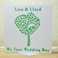 Personalised Laser Cut Wedding Heart Tree Card