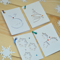 Christmas Laser Cut Gift Tags - Set of 8 - Holly, Christmas Tree, Pudding