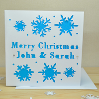 Personalised Laser Cut Snow Christmas Card