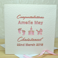 A modern typographic laser cut personalised Christening or Baptism card.  This l