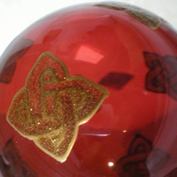 10cm Red Glass Bauble with Hand painted gold Celtic Knot Squares