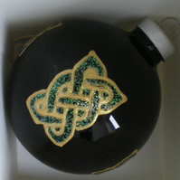 Black Glass Bauble with Hand painted Gold and Green Celtic Knot Rectangles
