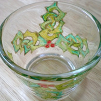 Votive or tealight holder with hand painted Celtic Knot work Holly leaves