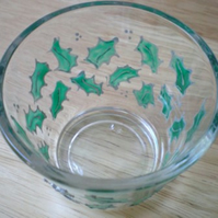 Votive - Tealight Holder with hand painted Holly leaves