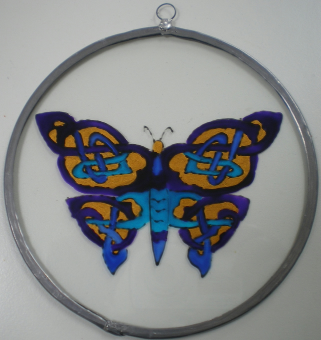 Suncatcher - Celtic Knotwork Butterfly Blues and Gold - Medium
