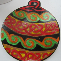 Hand painted ceramic Christmas decoration – Celtic knot work bauble