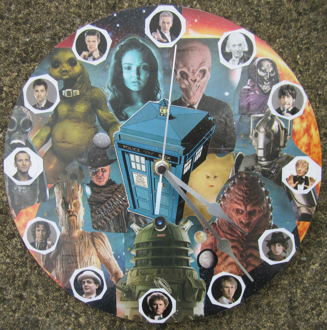 Doctor Who Handmade Decoupage Clock