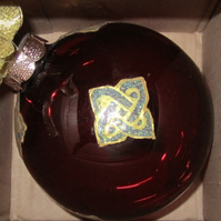10cm Red Bauble with Hand painted Square Green & Gold Celtic Knots