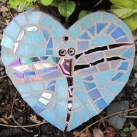 Heart with iridescent mosaic dragonfly