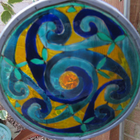 Suncatcher - Celtic Spirals - Greens and Blues with saffron background
