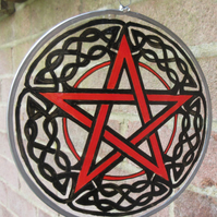 Suncatcher - Celtic Pentagram with black knotwork border