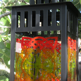 Lantern with hand painted Celtic Knotwork glass panels