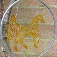 Suncatcher - Celtic Unicorn design by spoonflower hand painted