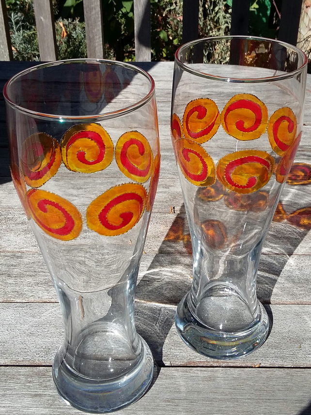 Pint glass with Celtic Spirals