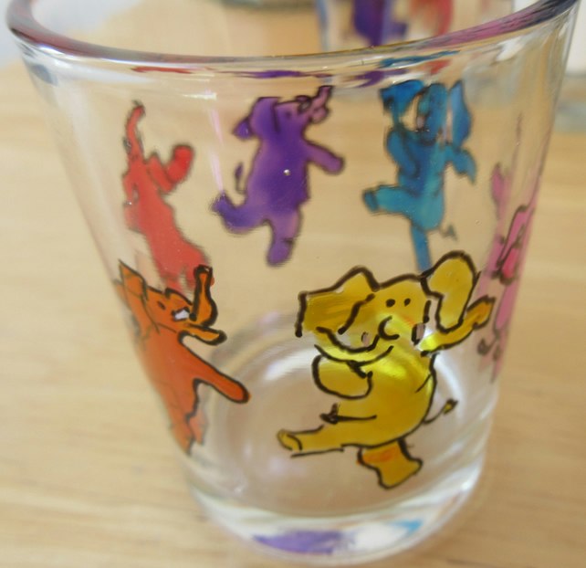 Shot Glass hand painted with dancing elephants - can be used as tealight holder