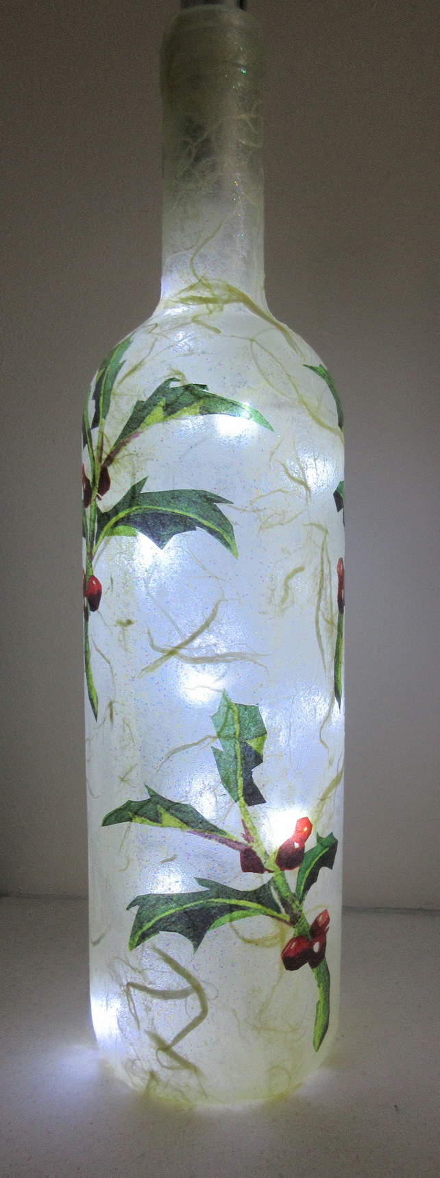 Bottle with Emma Bridgewater Holly tissue decoupage - vase or lights