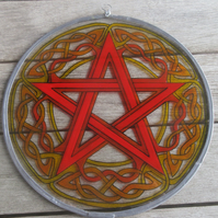 Suncatcher - Celtic Pentagram in fire colours - red, oranges and yellows