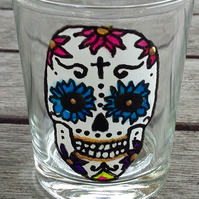 Shot Glass or tealight - hand painted sugar skull with blue eyes