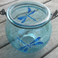 Cauldron shaped blue tea light holder with hand painted dragonflies