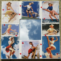 Decoupage mirror using Gil Elvgren Pin-Ups with a boating theme pictures