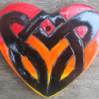 Hand painted ceramic heart decoration – Celtic Knot in black and fire colours