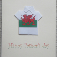 Father's Day Greeting Card - Welsh flag Origami shirt