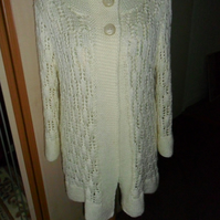 Ladies hand knitted long Jacket, Cream, Lacy, long sleeves, 96cms chest.