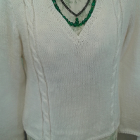 Jumper, hand knitted, cable, v neck, long sleeves, cream, ladies,  size 14