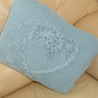 Cushion, hand knitted, pale blue, heart design, pad included
