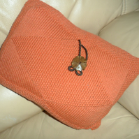 Cushion hand knitted, Terracotta, pad included. FREEPOST UK