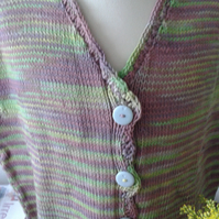 "Waistcoat, handknitted in Cotton yarn, Grape,Green stripes, sleeveless. 34"" Bust"