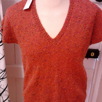 Short sleeved, hand knitted, Jumper, Ladies, Rust Colour, Size 36, Freepost UK