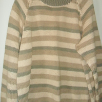 Jumper, hand knitted, cotton, striped,brown,cream,khaki, long sleeved, Size 16