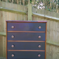 vintage shabby chic chest of drawers upcycled in Napoleonic Blue