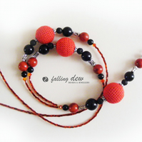 SALE Venus Crochet Necklace Red Black Design