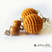 SALE crochet beads earrings brown color